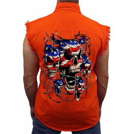 Skull Sleeveless Denim (Men's Sleeveless Denim Shirt USA Flag Skulls & Chains)