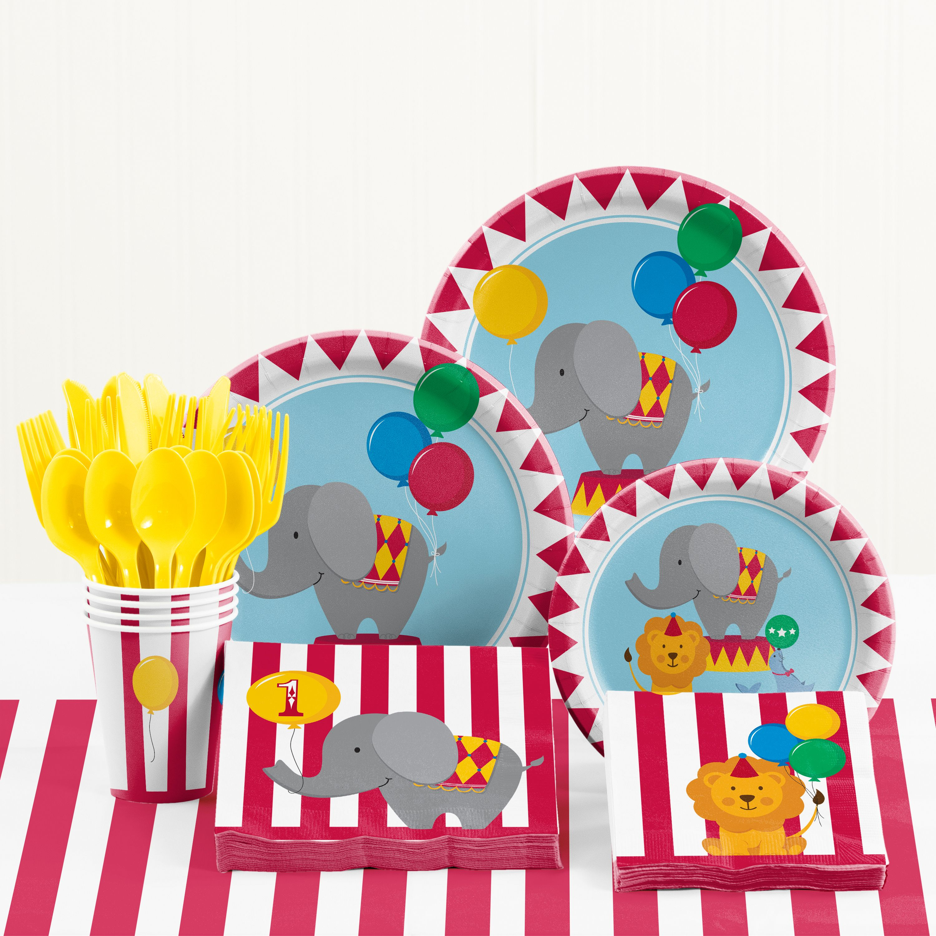 Circus 1st Birthday Party Supplies Kit