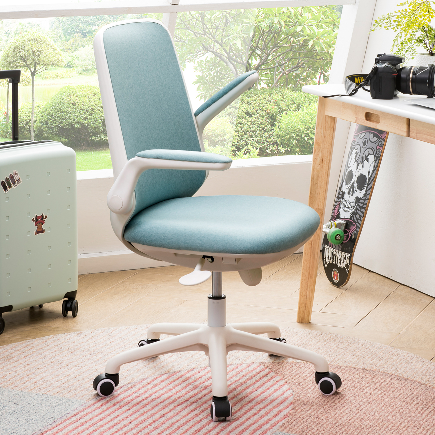 Ovios Office Chair Water Resistant Fabric Desk Chair For Dresser And Home Office Modern Comfortble Nice Tash Chair For Computer Desk White Blue Walmart Com Walmart Com