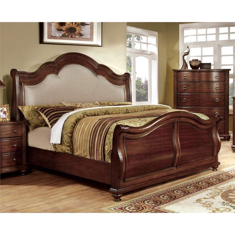 Furniture of America Marcella California King Upholstered Sleigh Bed by Furniture of America