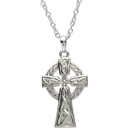 Shanore Unisex Platinum Plated Celtic Trinity Knots Cross Pendant Irish Necklace Plated Trinity Knot