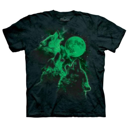The Mountain Green 100  Cotton Glowing Three Wolf Moon T Shirt New