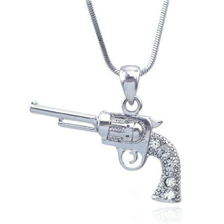 2 Arm Pendant - cocojewelry Cowboy Cowgirl Revolver Gun Pistol Pendant Necklace