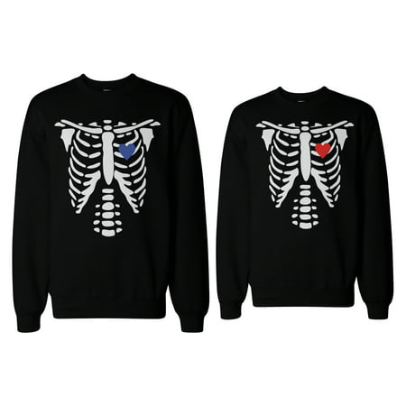 Skeleton Couple Sweatshirts Halloween Sweaters Fleece for Horror Night](Halloween Horror Nights Chainsaws)