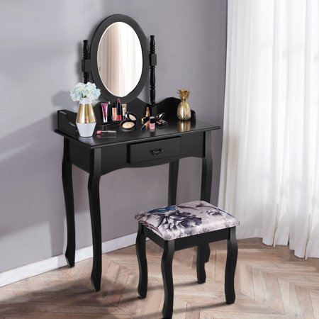 Costway Vanity Wood Makeup Dressing Table Stool Set Jewelry Desk W/ Drawer &Mirror bathroom White/Black