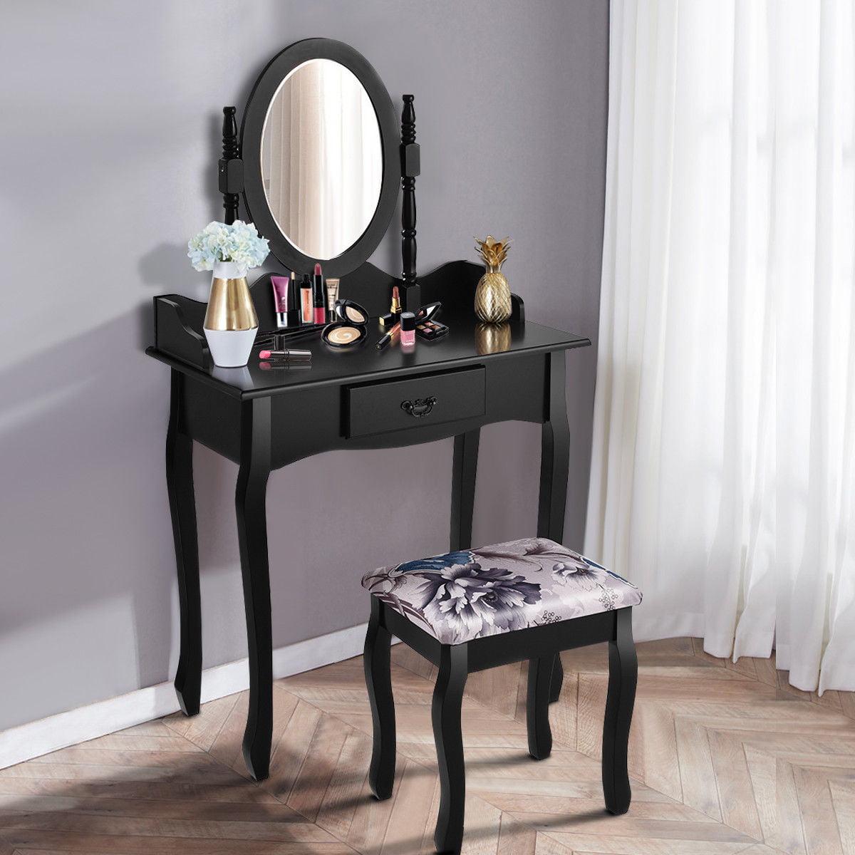 Costway Vanity Wood Makeup Dressing Table Stool Set Jewelry Desk bathroom W/ Drawer &Mirror Black