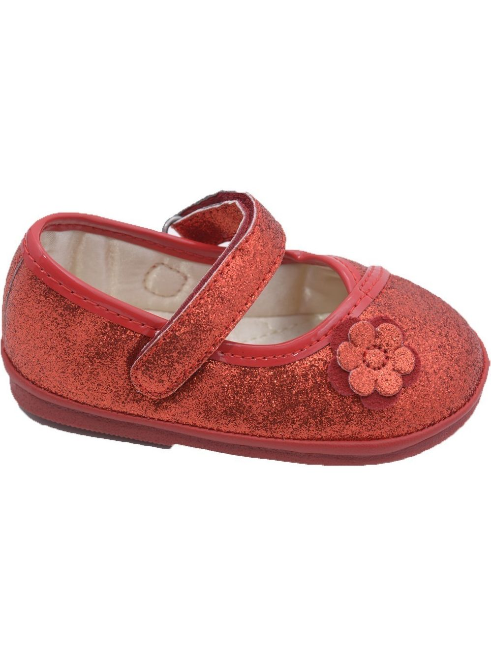 Angel Girls Glitter Red Flower Kimono Velcro Strap Mary Jane Shoes 1-3 Baby