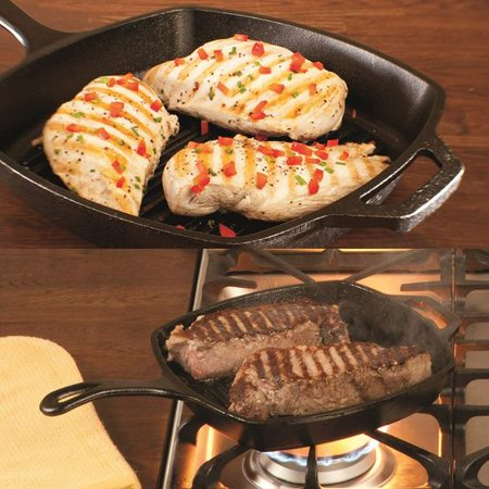 Lodge Pre-seasoned 10.5 inch Cast Iron Grill Pan with Assist Handle