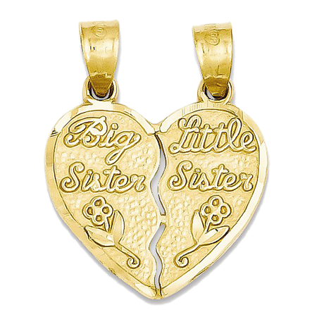 14K Yellow Gold Big Sister Little Sister Break Apart Heart Charm Pendant   21Mm
