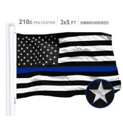 G128 - 3x5 feet Thin Blue Line Flag   Embroidered 210D - Blue Stripe, Black&White Flag, Indoor/Outdoor, Vibrant Colors, Brass Grommets, Quality Polyester