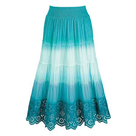 Women's Ombre A-Line Gauze Peasant Skirt with Eyelet Lace Trim, Large, Turquoise - Eyelet Trimmed Pinafore