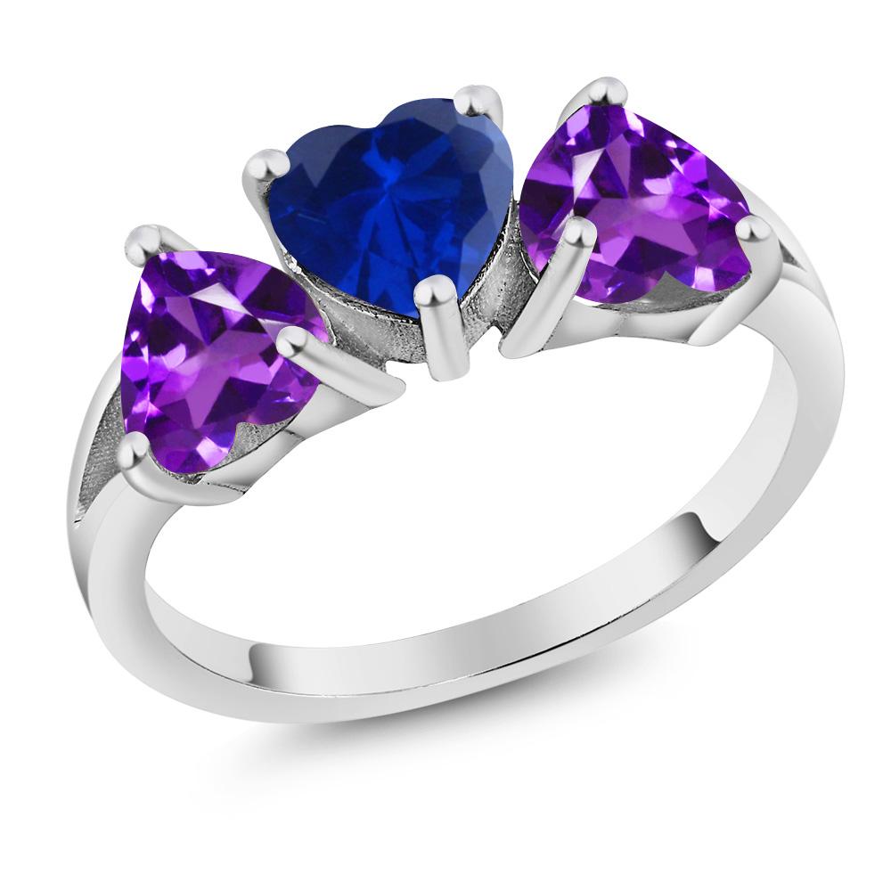 2.10Ct Heart Blue Simulated Sapphire Purple Amethyst 14K ...