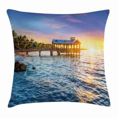 United States Throw Pillow Cushion Cover  Pier At Beach In Key West Florida Usa Tropical Summer Paradise  Decorative Square Accent Pillow Case  20 X 20 Inches  Light Blue Yellow Green  By Ambesonne