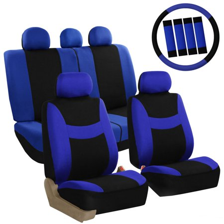 FH Group  Blue & Black Combo Pack Light & Breezy Fabric Auto Seat Covers (Full (Auto Accessories Combo Set)