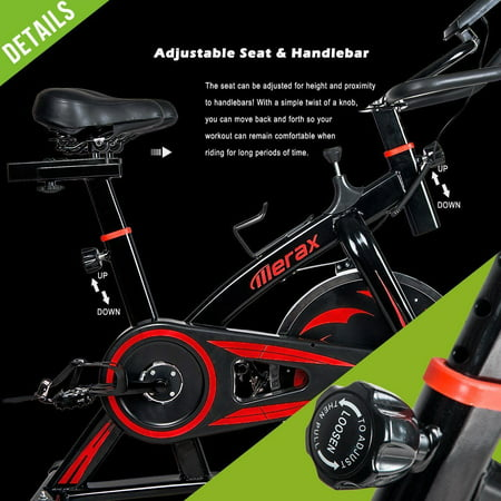 Merax Indoor Cycling Exercise Bike with Multi-functional Digital LCD Monitor and Water Bottle Holder, Red