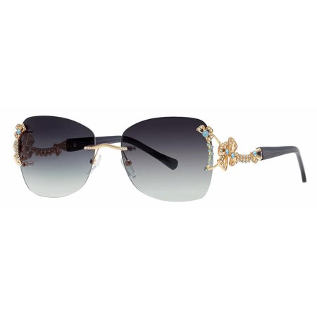 Caviar Rimless Swarovski Crystals 6855 C55 Sunglasses Limited Edition Black