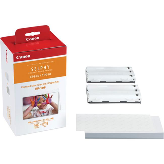 Canon Wide Format 8568B001 8568B001 Inks & Paper Pack, RP108, 50 Sheets, 4 x 6