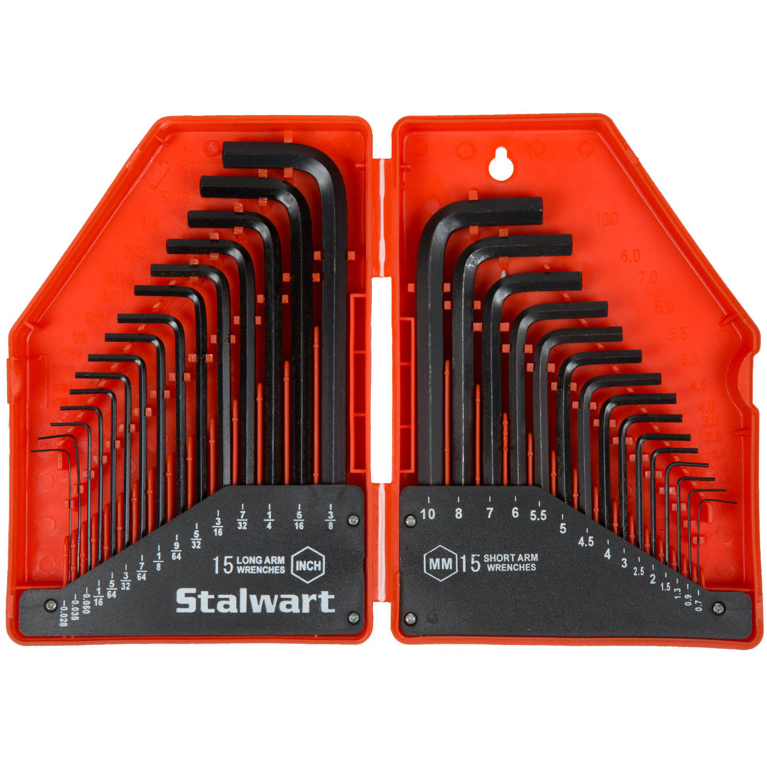 Stalwart 30-Piece Hex Key Wrench Set, Combo SAE and Metric