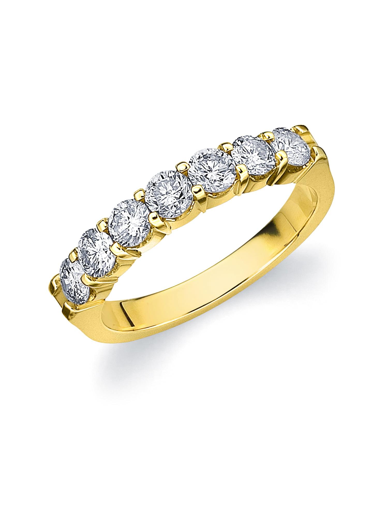 0.5 CTTW 7 Stone Yellow Gold Diamond Anniversary Ring, Diamond Wedding Band by