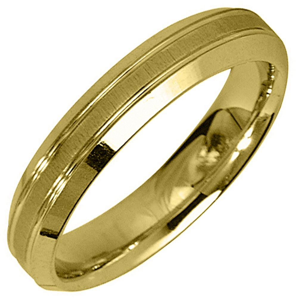14K Yellow Gold Mens Wedding Band 4mm Satin Comfort Fit
