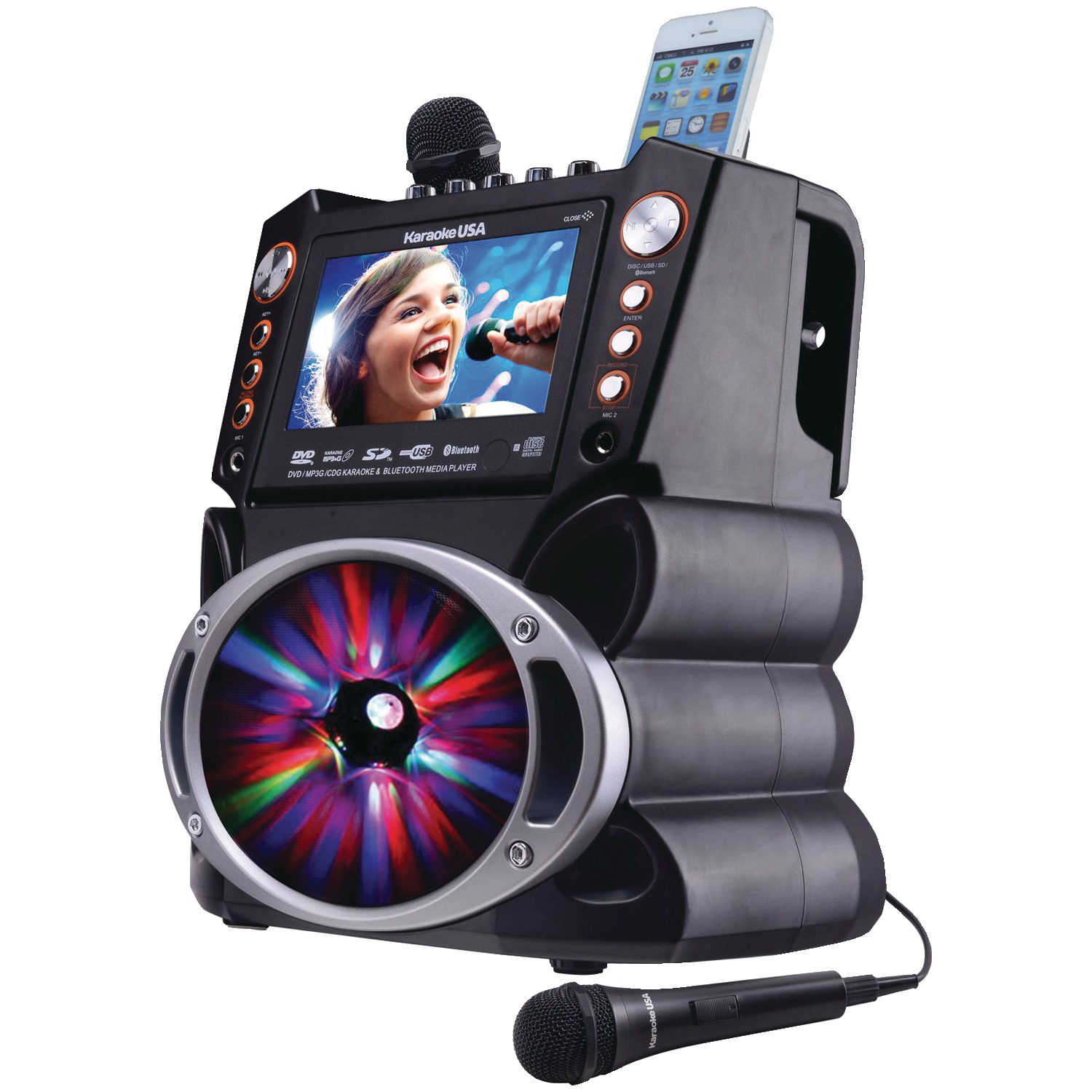Karaoke USA GF846 Bluetooth Karaoke Machine with Synchronized LEDs by Karaoke USA