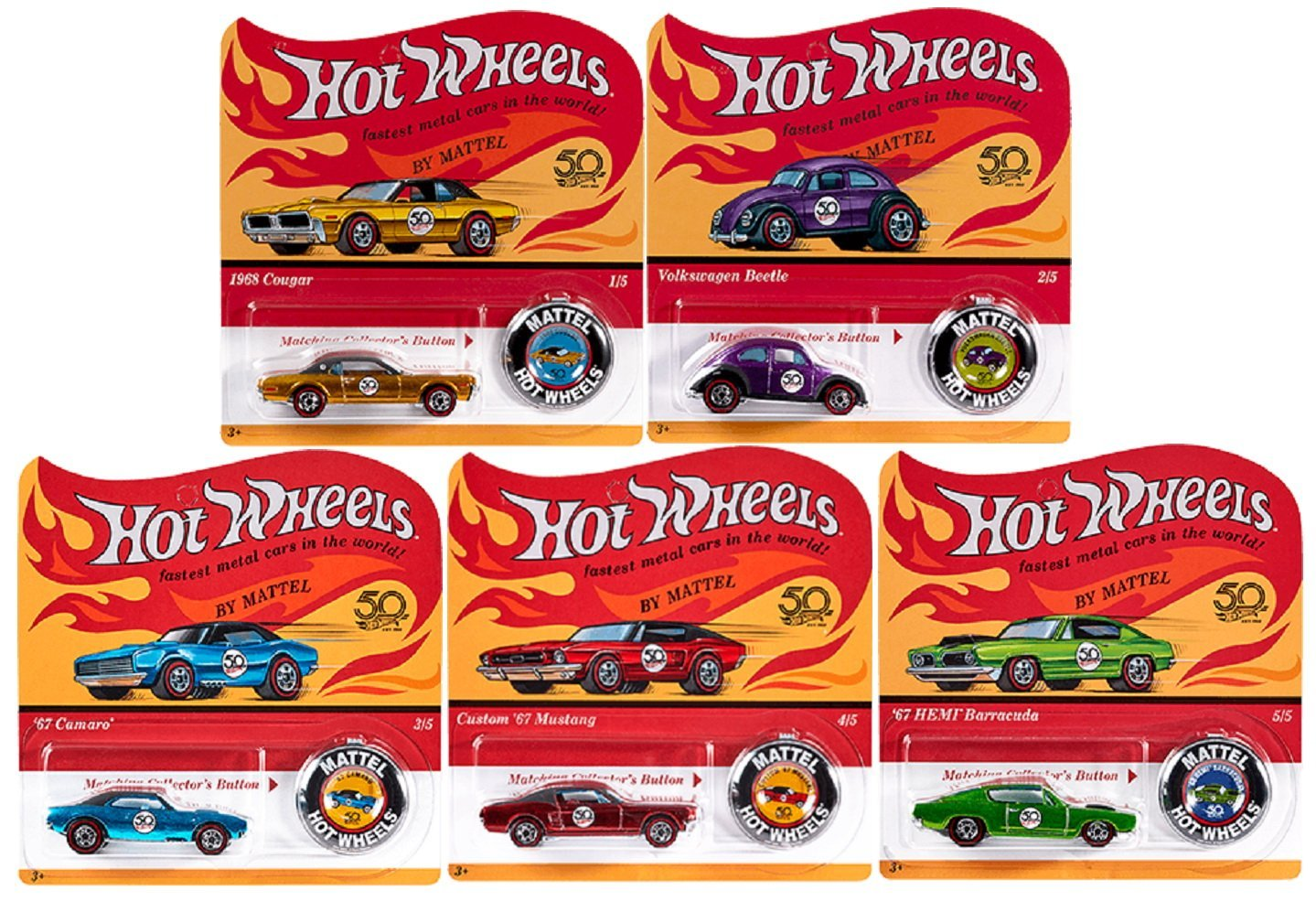 2018 Hot Wheels 50th Anniversary Originals Redlines Complete Set of 5 1 64 Diecast Cars, w... by