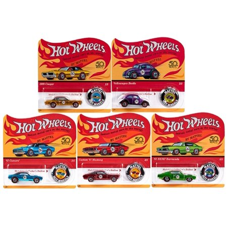 2018 Hot Wheels 50th Anniversary Originals Redlines  Complete Set of 5 1/64 Diecast Cars, w/Button