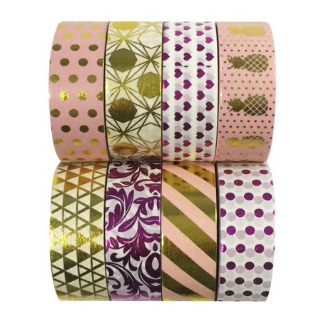 ALLYDREW Set of 8 Washi Tapes Metallic Gold & Metallic Purple Foil Washi Tape Rolls