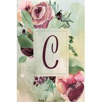 "Wine Green Floral 6""x9"" Notebook Alphabet Series - Letter C: C: Wine Green Floral 6""x9"" Lined Notebook (Paperback)"