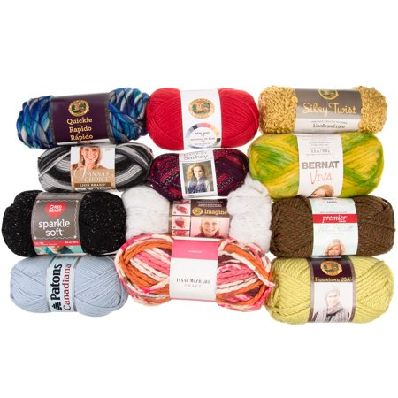 (12 Pack) Assorted Yarn Random Skeins Soft Variety Pack Yarn for Knitting Crocheting Sweaters