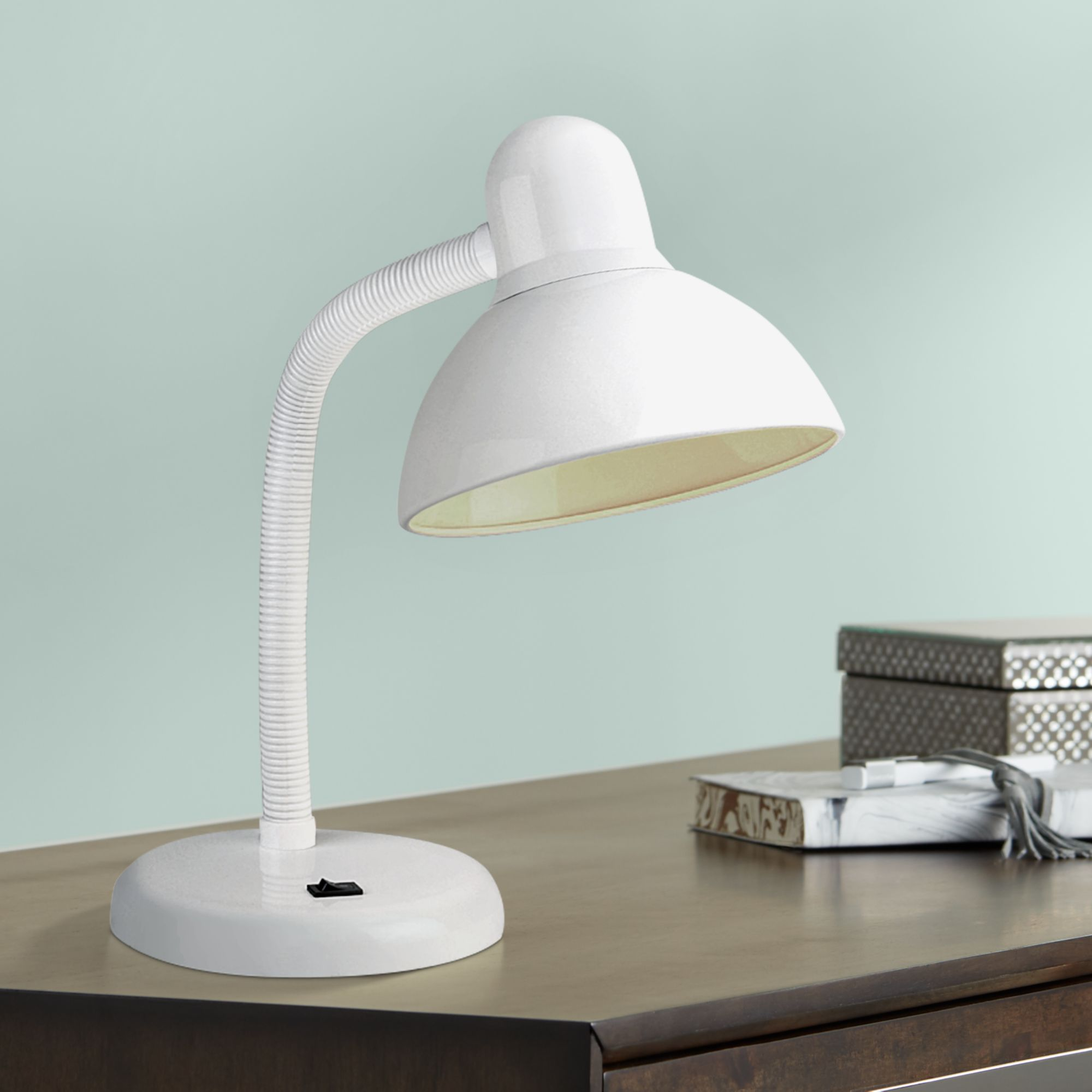 Gooseneck White Finish Task Desk Lamp By 360 Lighting