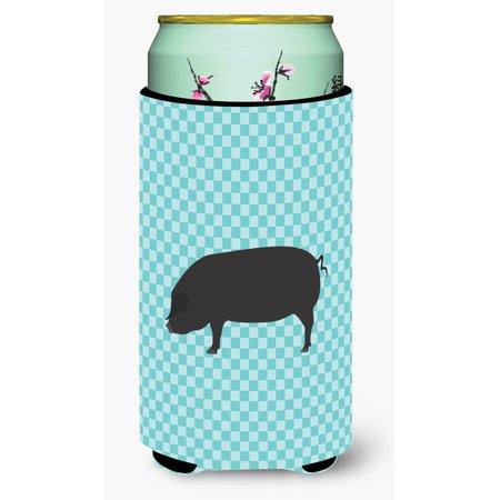 Devon Large Black Pig Blue Check Tall Boy Beverage Insulator Hugger Bb8105tbc