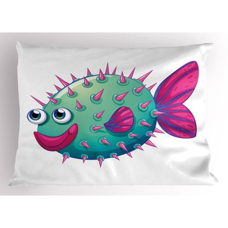 Purple Mints (Fish Pillow Sham Cheerful Bubble Fish Illustrated in Vibrant Colors on White Background, Decorative Standard Queen Size Printed Pillowcase, 30 X 20 Inches, Mint Green Hot Pink Purple, by)