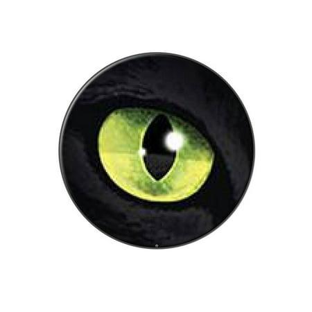 Cat Green Eye Lapel Hat Pin Tie Tack Large Round ()