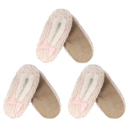 Adult Women's Super Soft Warm Cozy Fuzzy Furry Slippers Non-Slip Lined Socks, Pink, Large, 3 - Funky Punk