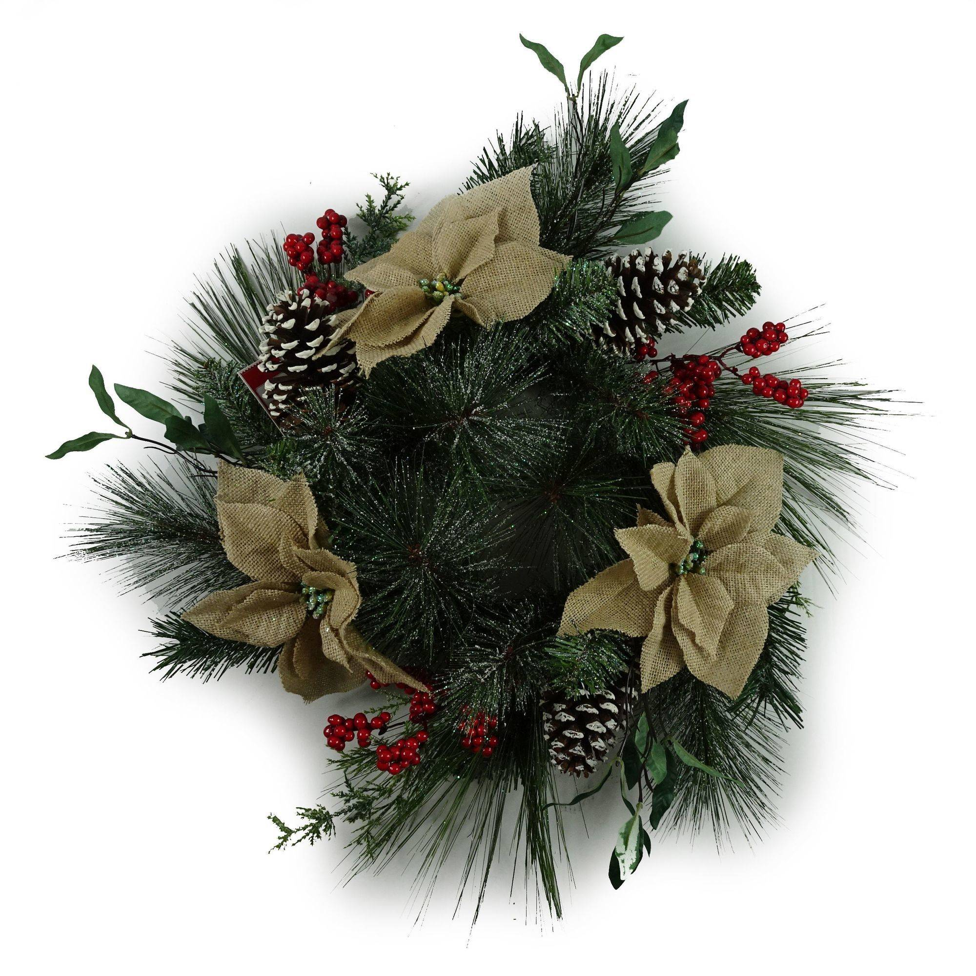 "Holiday Time Christmas Decor 20"" Brown Burlap Poinsettia Decorated Wreath"