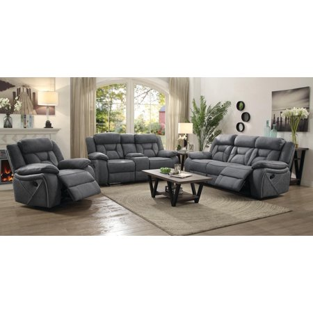 Leather Match Motion Sofa - Coaster Company Houston Collection Motion Sofa, Grey
