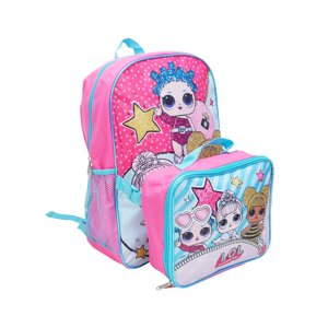 "Girls LOL Surprise Backpack 16"" with Detachable Lunch Bag 2-Piece"