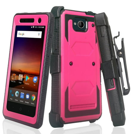 ZTE Majesty Pro Case, ZTE Majesty Pro Plus Case with Built-in [Screen Protector] Heavy Duty Full-Body Rugged Holster Case [Belt Clip][Kickstand] For ZTE Majesty Pro/Majesty Pro Plus, Hot Pink - image 6 of 6