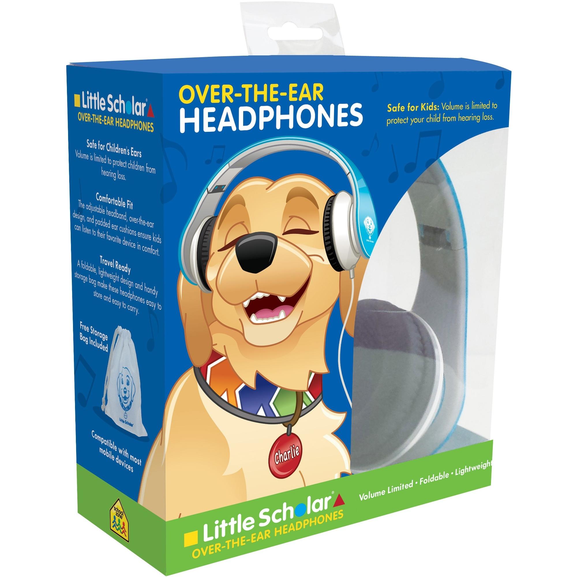 School Zone Little Scholar Over-The-Ear Headphones - Volume Limited - Comfortable - Adjustable Headband - Foldable - Travel Ready