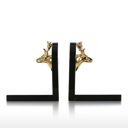 Bookends Decorated with Golden Deer Head Art Bookends Wooden 1 Pair Study Room Ornament Office (Eagle Head Bookends)