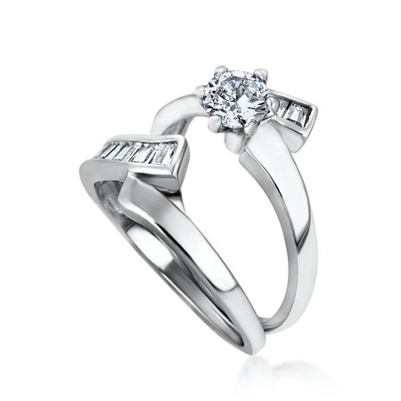1CT Round Solitaire 6 Prong AAA CZ Wedding Baguette Contoured Band Engagement Ring Set For Women 925 Sterling Silver - image 4 of 5