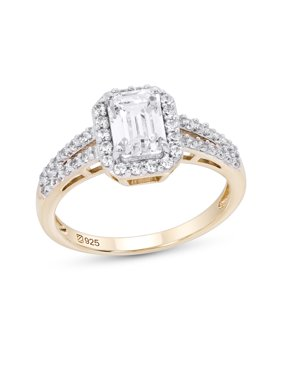 Sterling Silver 14K Gold Plated Halo Emerald Cut Cubic Zirconia Engagement Ring