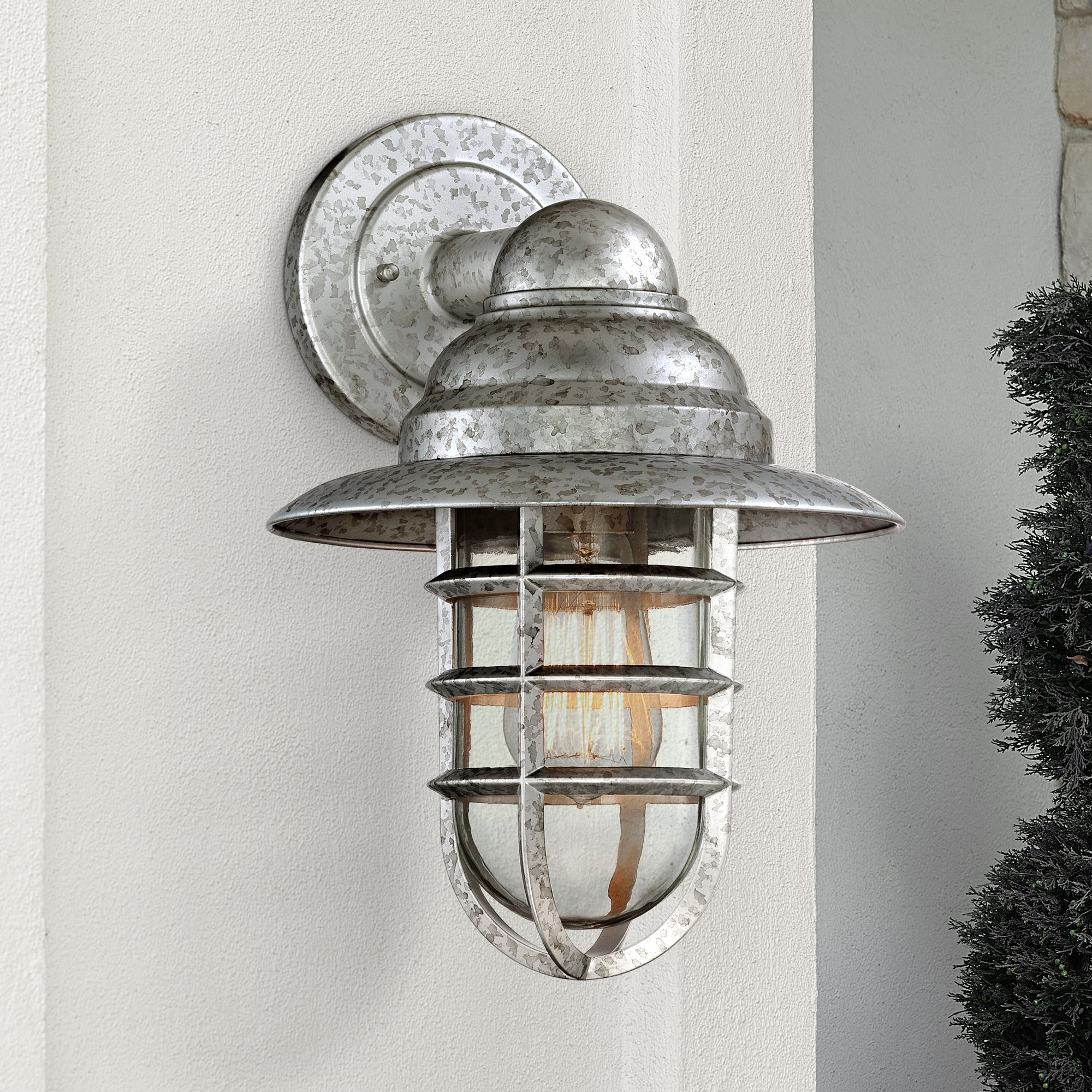 "John Timberland Modern Outdoor Wall Light Fixture Galvanized Hooded 13 1/4"" Caged Glass Exterior House Porch Patio"