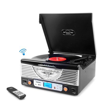 PYLE PTR8UBTBK - Retro Vintage Classic Style Bluetooth Turntable Vinyl Record Player with USB/MP3 Computer Recording