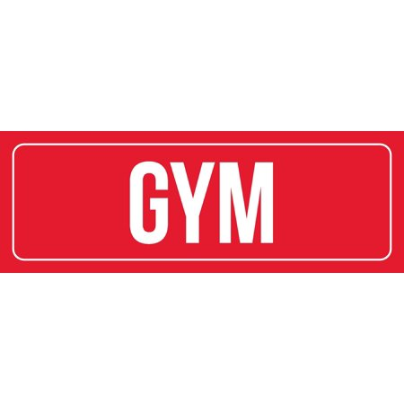 Red Background With White Font Gym Office Business Retail Outdoor & Indoor Metal Wall Sign, 3x9 Inch