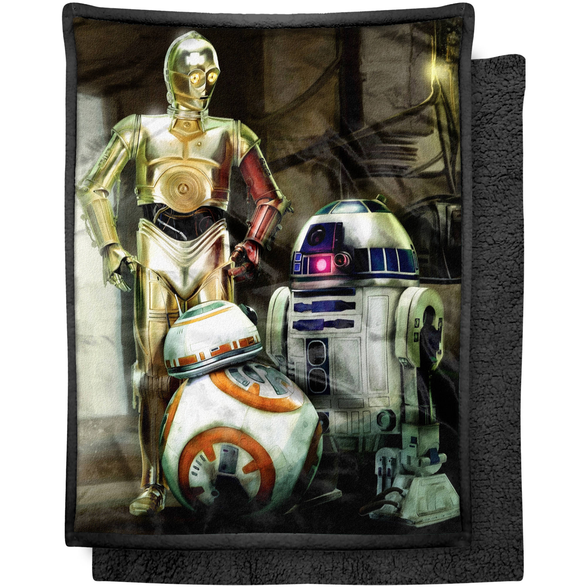 "Lucas Films' Star Wars Episode 7: The Force Awakens, Three Droids 46"" x 60"" Mink Sherpa Throw"