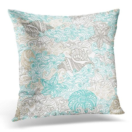 Boho Shell (CMFUN Blue Aquatic with Sea Shells and Waves in Boho Style White Beach Pillow Case Pillow Cover 18x18)