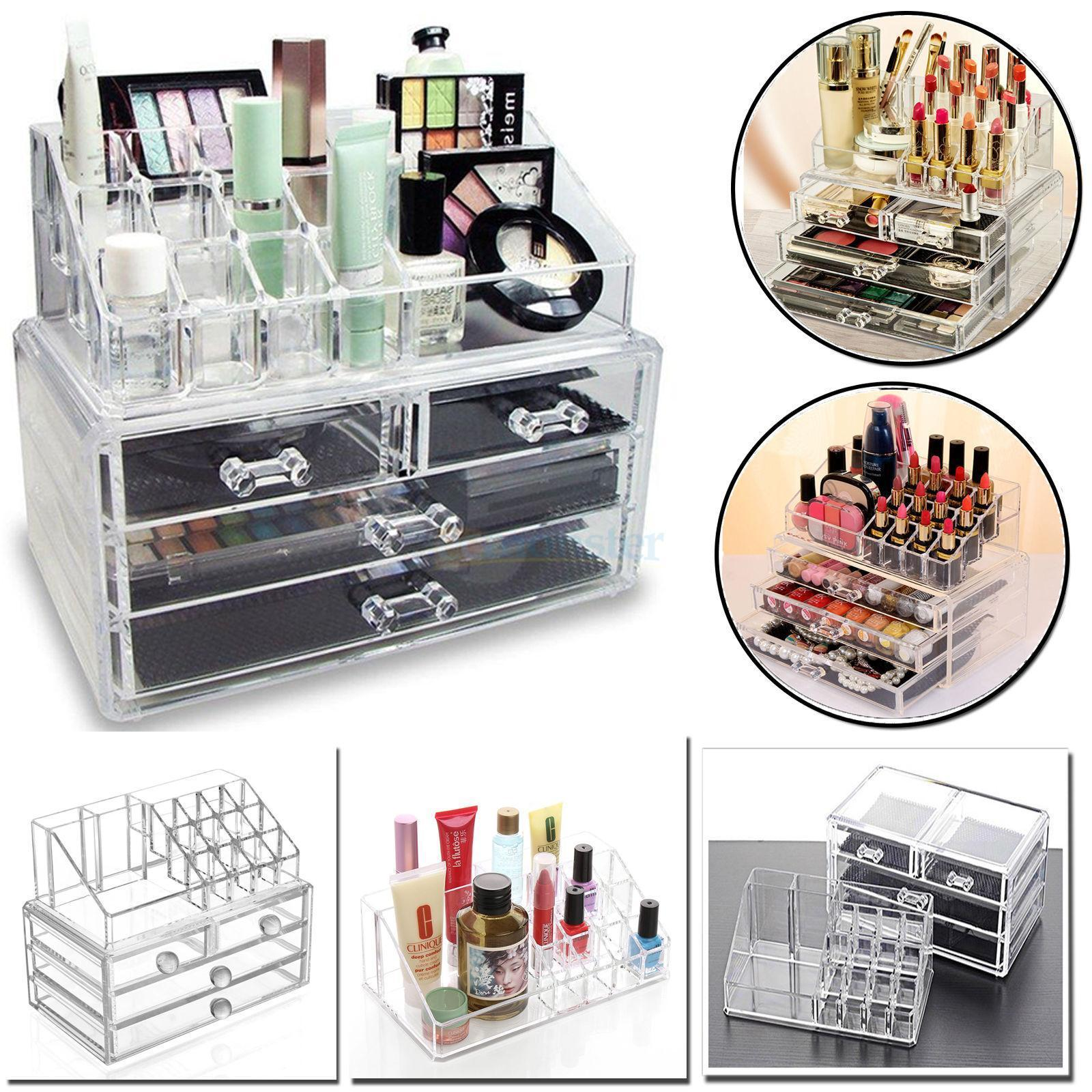Ktaxon Clear Jewelry Cosmetic Organizer 4 Drawer Drawer Makeup Case Storage Holder Box