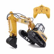 Kadell 2.4G 1/12 RC 15 Channel Remote Control Excavator Tractor Vehicle Digging Truck Kids Children Christmas Birthday Gift